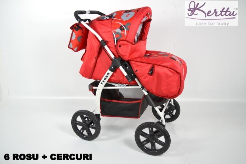 Carucior 2 In 1 Kerttu Tiger Rosu Cu Model
