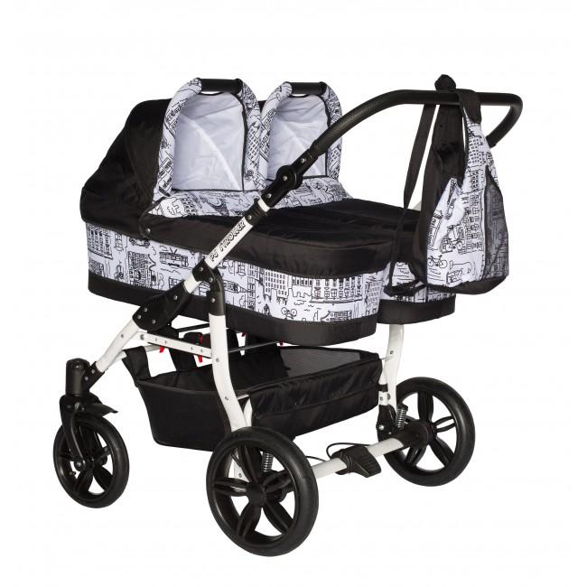 PJ BABY Carucior gemeni Side by Side Pj Stroller 2 in 1 Black