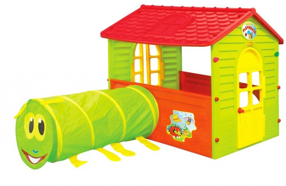 Casuta Play House cu Tunel Caterpillar