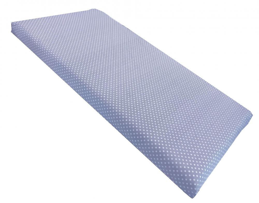 Cearsaf cu elastic pe colt 120x60 cm Buline albe pe albastru