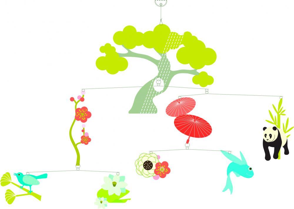 Decoratie mobila camera copil copac asiatic Djeco