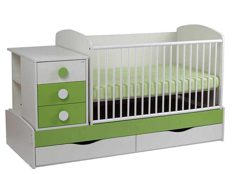 Patut copii transformabil Silence alb-verde 7100