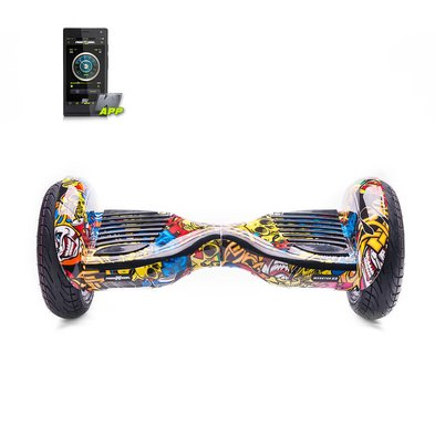 Scooter electric Hoverboard Freewheel Monster S2 Smart Graffiti galben