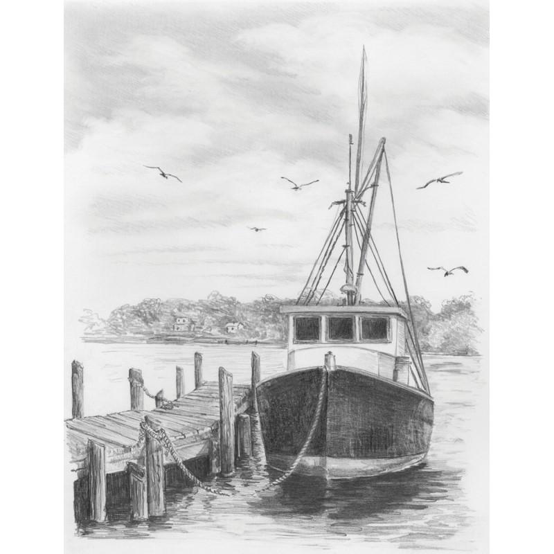 Set Pentru Realizarea Unui Desen In Creion Barca De Pescuit