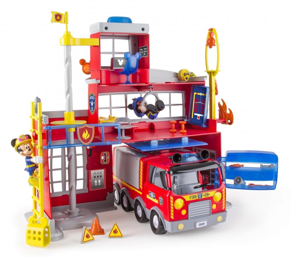 Statie de pompieri cu efecte luminoase si sonore, 2 figurine articulate (Minnie si Mickey) si 20 accesorii