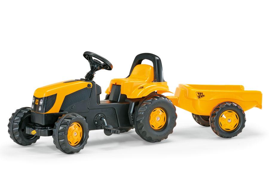 Tractor cu pedale si remorca copii Rolly Toys 012619 galben imagine