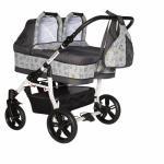 Carucior gemeni Pj Stroller 3 in 1 Grey