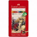 Creioane Faber-Castell 12 culori cutie metal