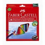 Creioane triunghiulare cu ascutitoare Eco Faber-Castell  24 culori