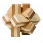 Joc logic IQ din lemn bambus Knot, cutie metal