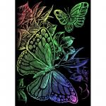 Mini gravura pe folie curcubeu  Fluturi
