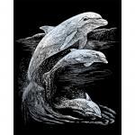 Set gravura pe folie argintie Delfini