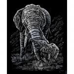 Set gravura pe folie argintie  Elefanti