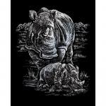 Set gravura pe folie argintie  Rinoceri