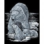 Set gravura pe folie argintie  Urs polar