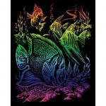 Set gravura pe folie curcubeu  Pesti tropicali