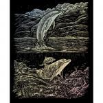 Set gravura pe folie holografica  Delfini