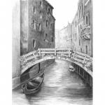 Set pentru realizarea unui desen in creion  Pod venetian
