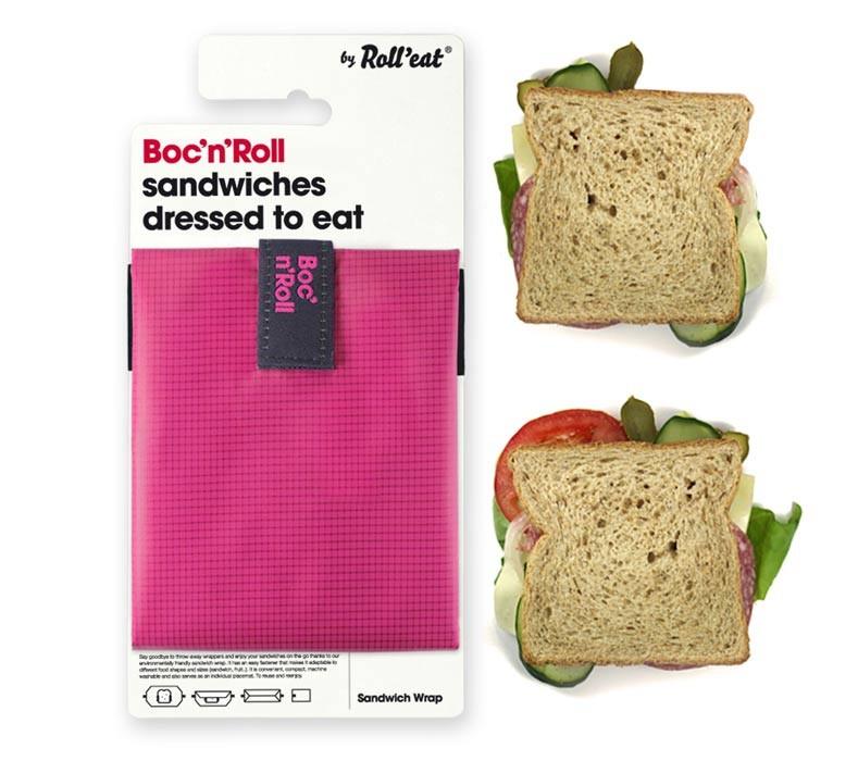 Ambalaj Reutilizabil Pentru Sandwich Boc N Roll Square Roz