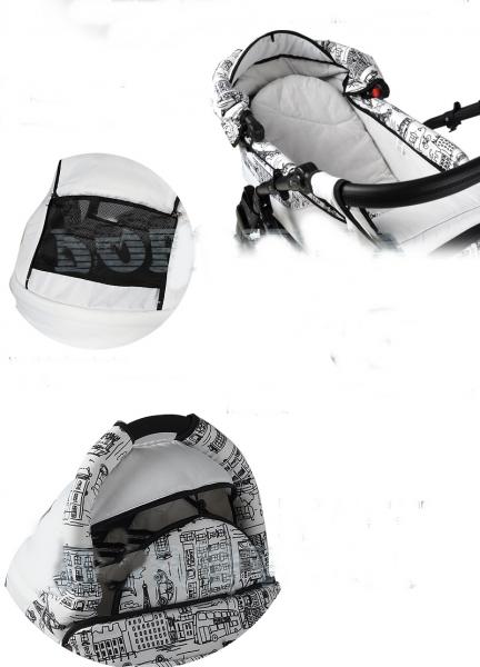 Carucior 3 in 1 Adbor Zipp black white Negru cu alb si puncte