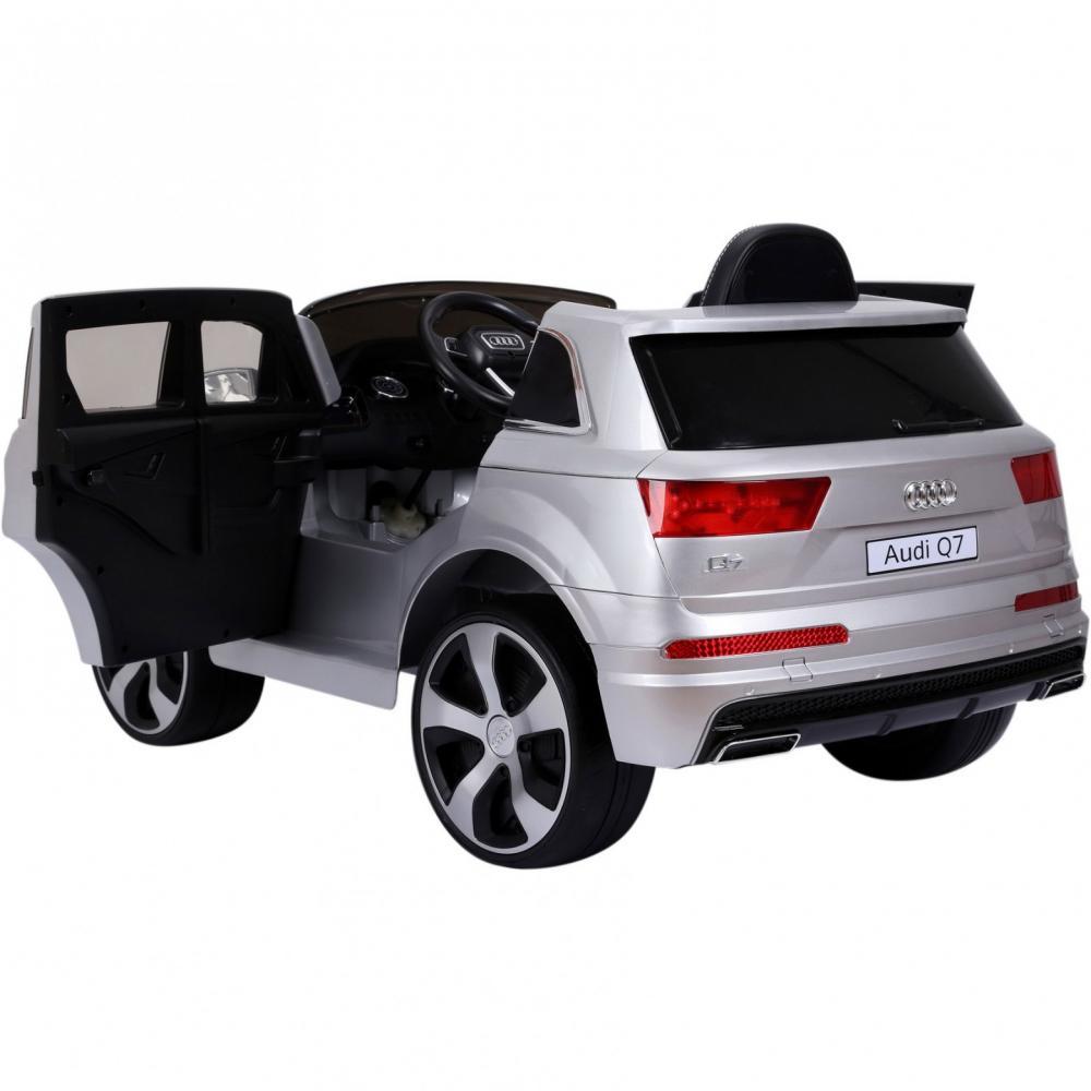 Masinuta electrica Audi Q7 cu scaun de piele si roti din cauciuc Silver