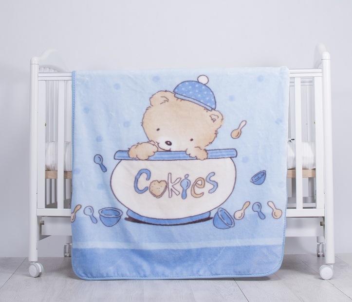 Paturica din plus pentru bebelusi Cookies Blue