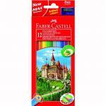 Creioane Faber-Castell 12 culori si ascutitoare