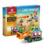 Joc magnetic educativ de constructie 3D Magspace 81 piese Land Vehicles
