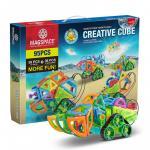 Joc magnetic educativ de constructie 3D cu telecomanda si motor 95 piese Creative Cube