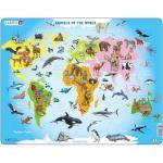 Puzzle Animalele lumii, 28 piese Larsen LRA34-GB