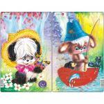 Set 2 Puzzle-uri Animale Simpatice, 14 piese Larsen LRCU2