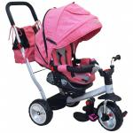 Tricicleta cu spatar rabatabil Extra Comfort Travel Pink