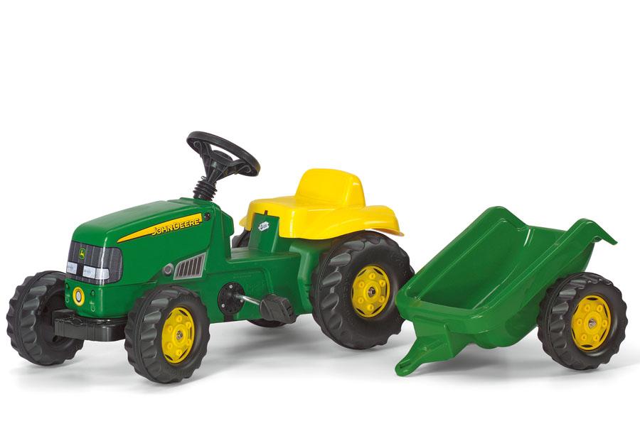 Tractor cu pedale Rolly Kid John Deere cu remorca