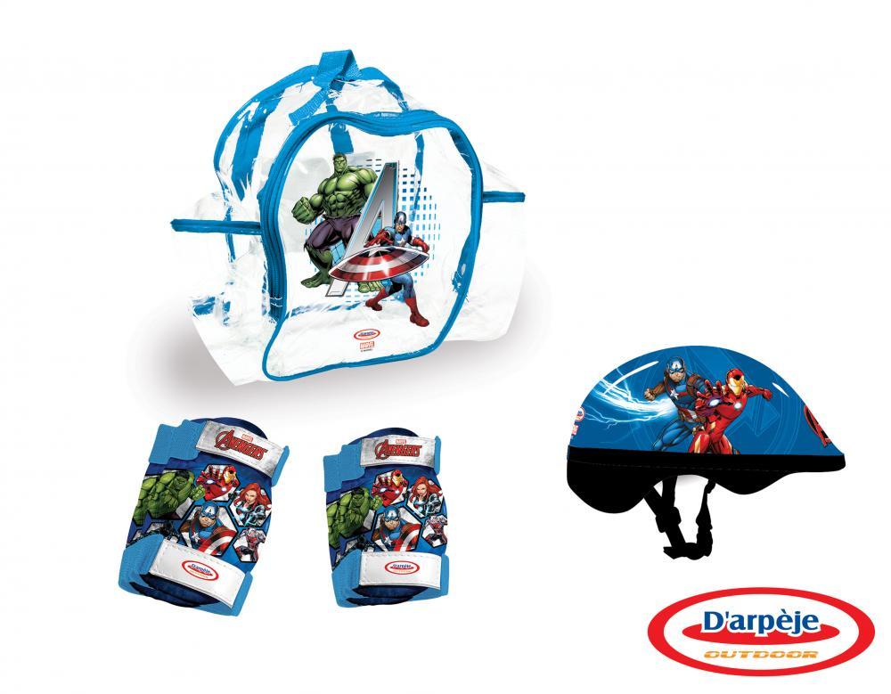 Set protectie in rucsac Avengers casca, genunchiere, cotiere imagine