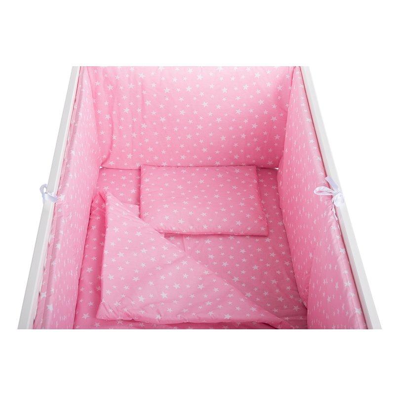 Lenjerie patut 5 piese Roz cu stelute din categoria Camera copilului de la BabyNeeds