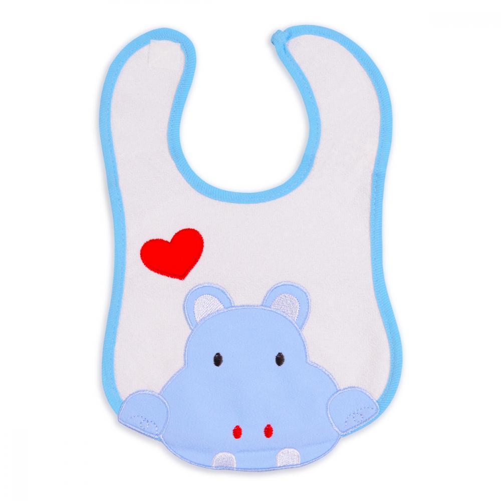 Bavetica impermeabila cu scai Baby Bib Hippo Blue