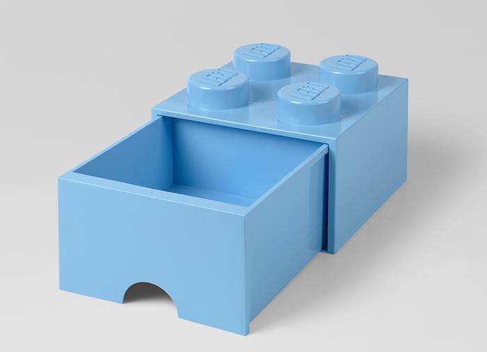 Cutie depozitare LEGO 2x2 cu sertar albastru deschis