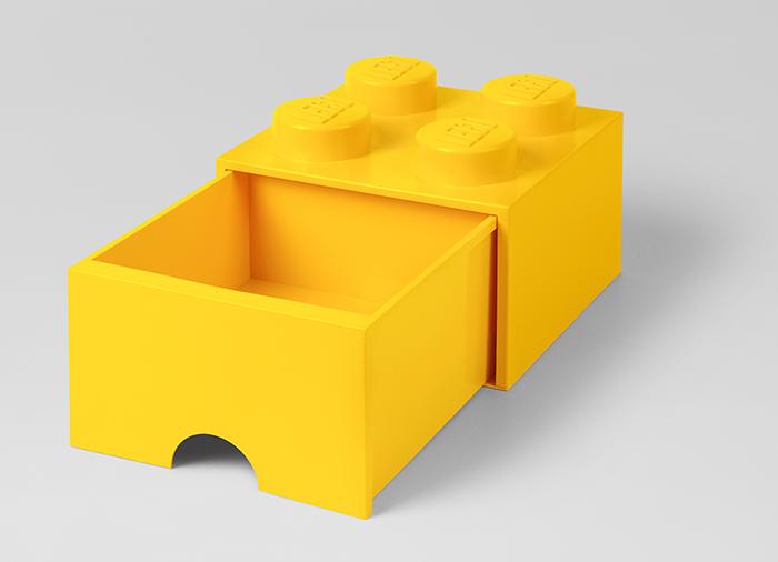Cutie depozitare LEGO 2x2 cu sertar galben