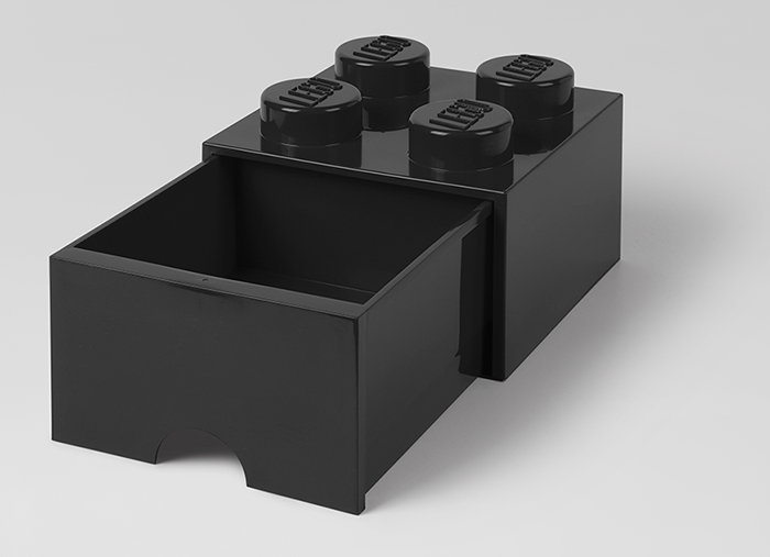 Cutie depozitare LEGO 2x2 cu sertar negru
