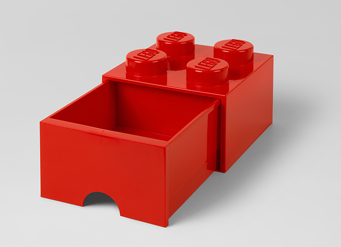 Cutie depozitare LEGO 2x2 cu sertar rosu