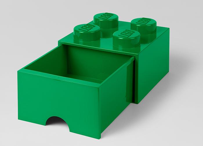 Cutie depozitare LEGO 2x2 cu sertar verde