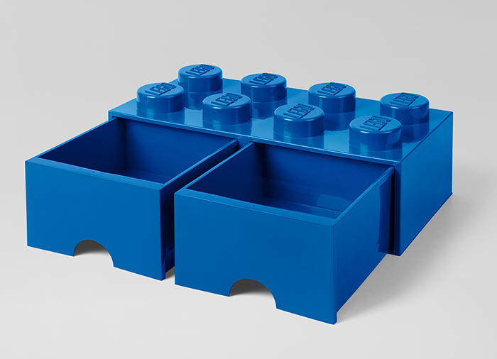 Cutie depozitare LEGO 2x4 cu sertare albastru