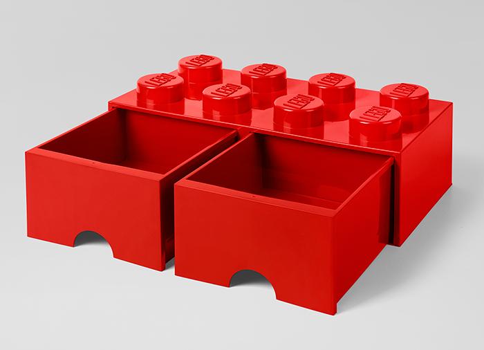 Cutie depozitare LEGO 2x4 cu sertare rosu