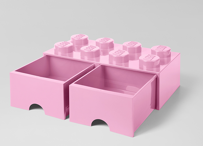 Cutie depozitare LEGO 2x4 cu sertare roz