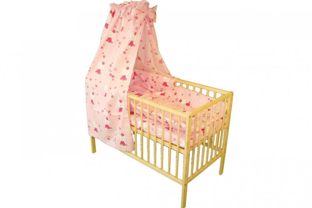 Lenjerie patut cu 5 piese si baldachin 120x60cm Little Cat roz