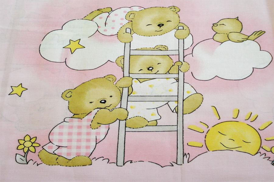 Lenjerie patut cu 4 piese 120x60cm Teddy Scarita roz
