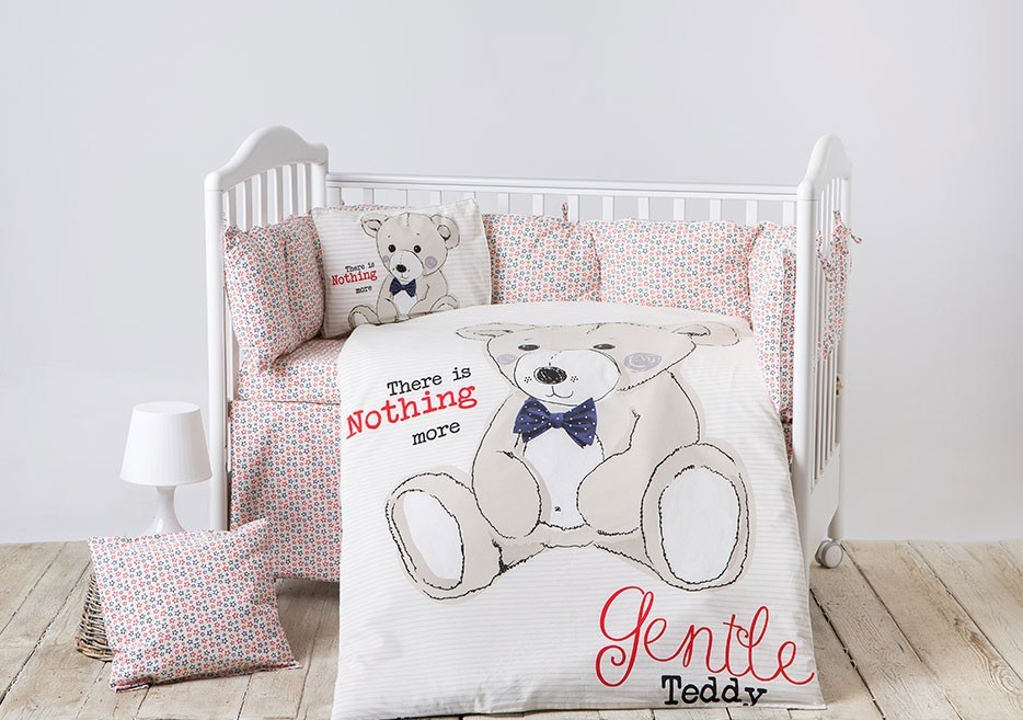 Lenjerie patut cu 6 piese si protectii laterale complete Teddy Bear type 3 60x120 cm