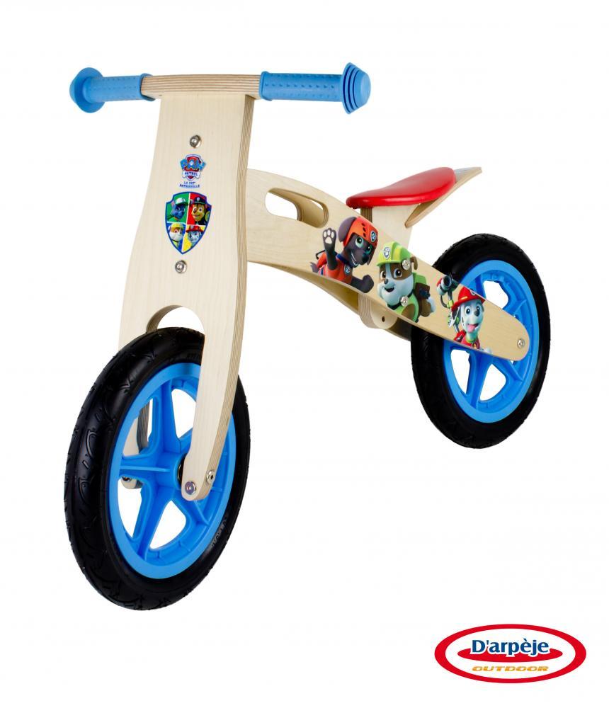 Bicicleta fara pedale din lemn Paw Patrol