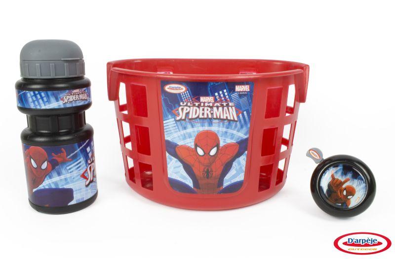 Accesorii Bicicleta (cos, sticla apa, clopotel) Spiderman