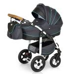 Carucior 3 in 1 Ride Dark Grey turcoaz